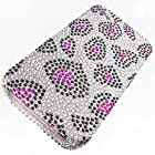 Apple iPhone 4 Cover Case by ShockWize; Diamas Series featuring designs and artwork that bring artsy creative depictions, animal prints, and cartoon characters to life with sparkle catching diamond rhinestones for added beauty, while form fitting two piece snap on hard plastic provides advanced protection iphone4 4s (DIAMAS) (leopard purple)