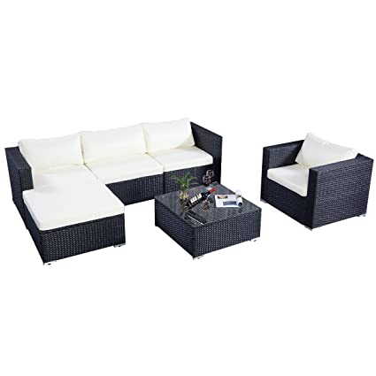 Poly Rattan Sofa Gartenmöbel Lounge Set Gruppe Sitzgruppen Gartengarnitur Seseel (Schwarz)