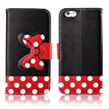 Fashion Youth Series Cute Design Black Red Bow Bowknot Polka Dot Wallet Flip Case Folio PU Leather Stand Cover with Card Slots for Apple iPhone 6 Plus 5.5 + Free Lovely Gift