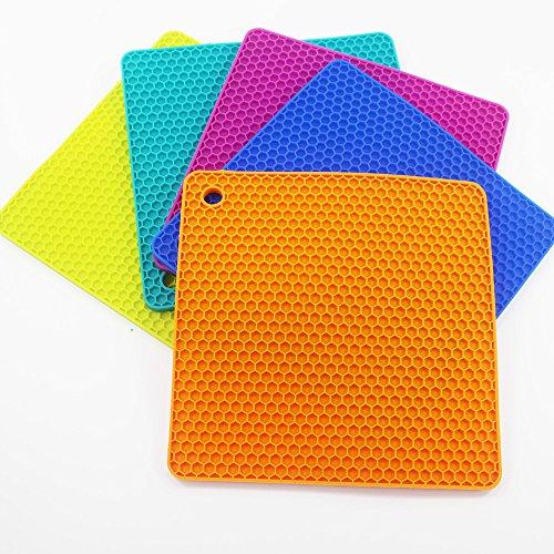 KaLaiXing® Cooks Premium Silicone Trivet, Pot Holder, Non-slip Hot Pad, Spoon Rest (Set of 5, orange, Blue, purple, Green.yellow)