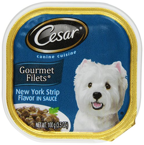 Cesar Canine Cuisine Gourmet Filets In Sauce New York Strip Flavor For Small Dogs, 3.5-Ounce Trays (Pack Of 24)