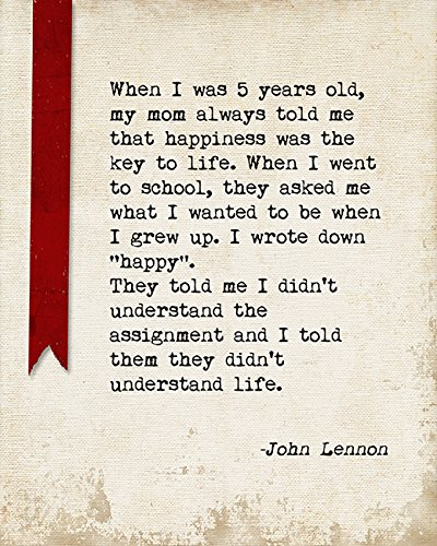 John Lennon Happiness Quote Poster Old John Lennon Quote