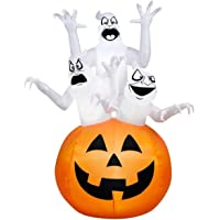 Gemmy Airblown Inflatable 6-ft X 4-ft Ghost Trio in Pumpkin Scene