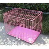 BestPet New Pink Pet Folding Suitcase Dog Cat Crate Cage Kennel Pen with ABS Tray, 24-Inch