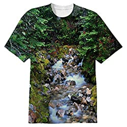 Snoogg White Water Flowing Mens Casual All Over Printed T Shirts Tees