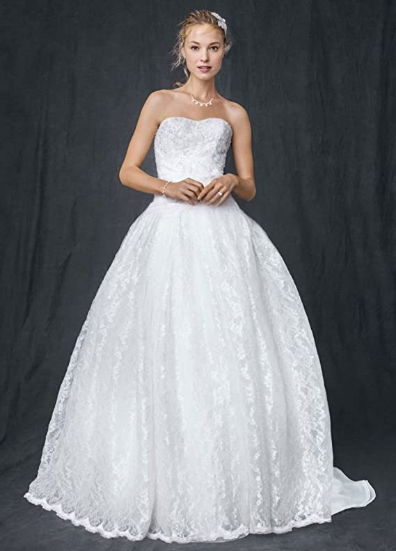 SAMPLE Strapless All Over Beaded Lace Ball Gown Wedding Dress Style AI10012280
