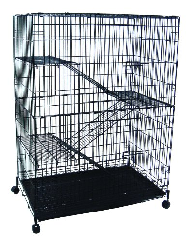 YML 4-Level Small Animal Chichilla Cat Ferret Cage, Black image
