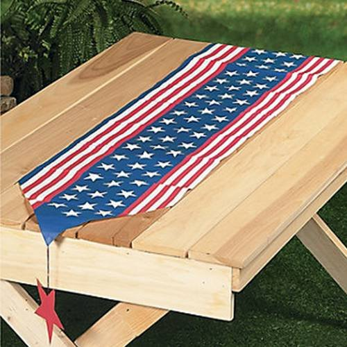 Unique's Shop Stars & Stripes Table Runner with Hanging Accents