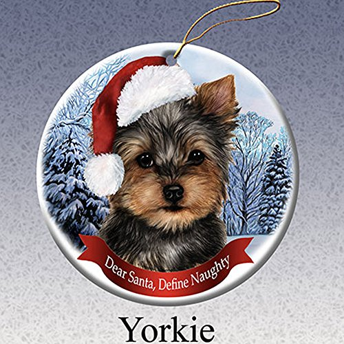 Dog in Santa Hat Porcelain Hanging Howliday Ornament (Yorkie)
