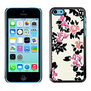 Omega Covers - Snap on Hard Back Case Cover Shell FOR Apple iPhone 5C - White Flower Pink Minimalist