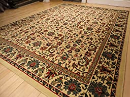 Large 8\'x11\' Traditional Cream Rugs Floral Area Rugs Persian Isfahan 8x10 Rug Dining Room Carpet Area Rugs 8x10 Clearance Under 100 (Large 8\'x11\' Rug)