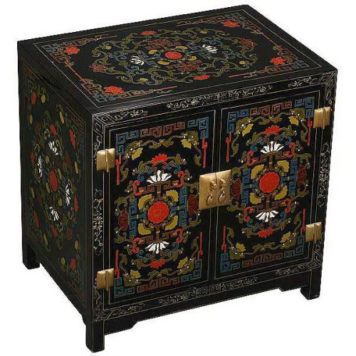 Cheap EXP Hand-painted Asian Furniture – 25″ Tibetan Style Black End Table / Storage Cabinet (B0011XGEYG)