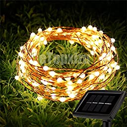 8 Modes Outdoor Solar Copper Wire lights Fairy String,eTopxizu 66Ft 200LEDs Outdoor Decorative Solar Waterproof LED String Lights For Garden,Patio,Yard,Tree,wedding Christmas strip Light(Warm White)