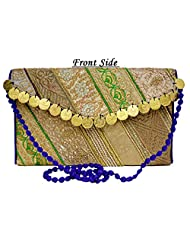 Eco-friendly Zari And Thread Embroidered Indian Shoulder Bag Stylish Fashion Purse