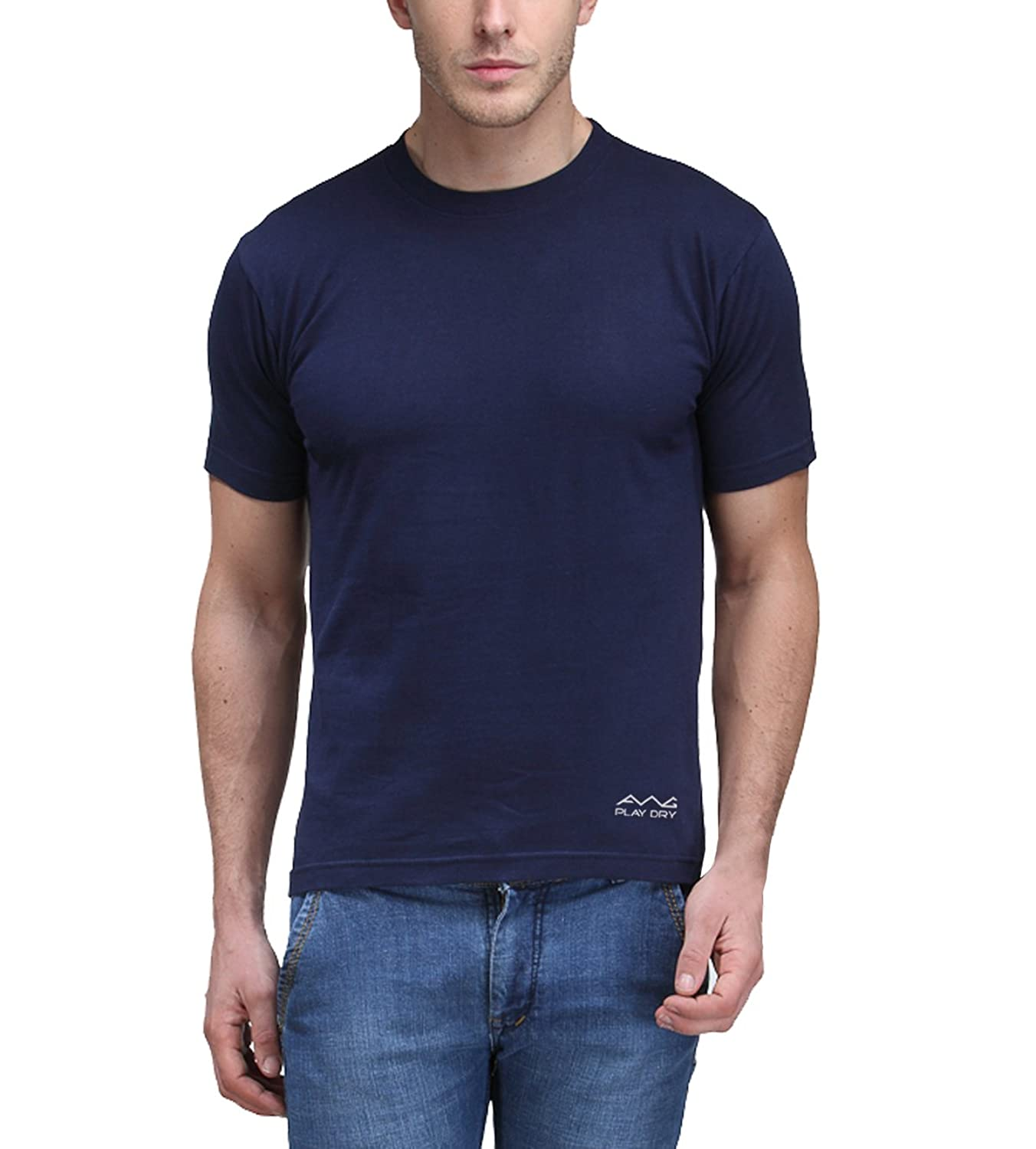 Amazon Fashion Style Bash (24-25 March) – 30%-70% Off On Everything By Amazon | Scott International Men's Jersey Round Neck Dryfit Polyester T-Shirt - Navy Blue @ Rs.249