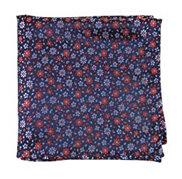 100% Woven Silk Navy Blue Milligan Flowers Patterned Pocket Square