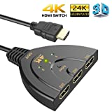 HDMI Switch, 3 Port 4K HDMI Switch 3 in 1 Out with High Speed Switch Splitter Pigtail Cable Supports Full HD 4K 1080P 3D Player (Color: Black, Tamaño: 4K)