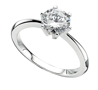 Solitaire Ovale Cut Zircone cubique Fiançailles promesse .925 Sterling Silver Ring