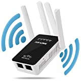 WiFi Repeater with External Antennas WiFi Range Extender 300Mbs Wireless Network Signal Booster Supports Repeater/Router/AP/WISP Mode with LED Indicators Black White (Color: Black White)