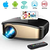 WiFi Projector, iBosi Cheng Portable Mini LCD Video Projector Full HD 1080P LED Home Theater Projector with HDMI/ USB/ VGA/ AV Input for Smartphones PC Laptop Gaming Devices (Color: Black)