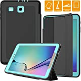 SEYMAC Galaxy Tab E 9.6 Case, Full Body [Drop Protection] Rugged Heavy Duty Case with Auto Sleep/Wake [Magnetic Cover] Compatible with Samsung Galaxy Tab E 9.6 inch SM-T560/SM-T561-Black/Light Blue (Color: Black Light Blue)