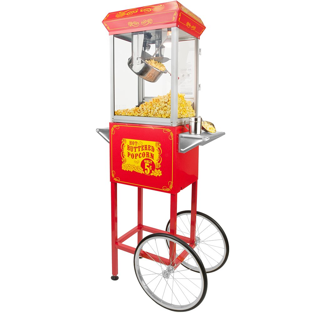 List of FunTime Sideshow Popper 8-Ounce Hot Oil Popcorn Machine with Cart, Red/Silver