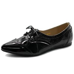 Ollio Women's Ballet Shoe Flat Enamel Pointed Toe Oxford(7 B(M) US, Enamel)