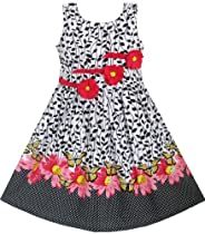 DY32 Girls Dress Black 3 Flowers Party Size 7-8