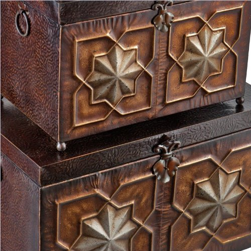 Southern Enterprises Arabesque 3 Piece Trunk Set in Rich Espresso