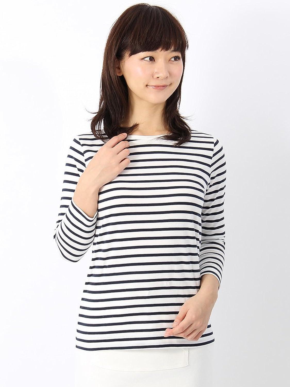 Amazon.co.jp: (ユニバーサルランゲージ) コットン天竺 ボーダー柄ボートネックカットソー ホワイト×ネイビー: 服&ファッション小物通販