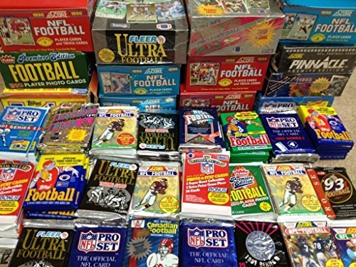 GREAT-LOT-OF-OLD-UNOPENED-FOOTBALL-CARDS-IN-PACKS-From-the-Late-80s-and-Early-90s-Look-for-Hall-of-famers-Such-As-Dan-Marino-Troy-Aikman-Joe-Montana-Jim-Kelly-John-Elway-Barry-Sanders-Marcus-Allen-Mik
