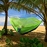 Leapair Mosquito Net Double Hammock -Camping Parachute Hammock Tent Portable 2 Person Supporting up to 400 pounds for Backpacking with Rope & Carabiners (L x W - 106 inch x 55 inch,Green)