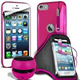 Fone-Case Apple iPod Touch 5, 5th Generation(Hot Pink) Protective Hydro S Line Wave Gel Silicone Skin Case Cover With Mini Capacative Retractable Stylus Pen, 3.5mm In Ear Earphones, Mini Rechargeable Capsule Speaker, Jogging Sports Armband & LCD Screen P