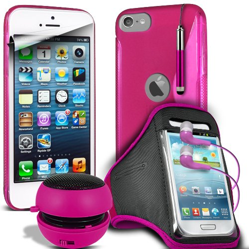 Fone-Case Apple Ipod Touch 5, 5Th Generation Hot Pink Protective Hydro S Line Wave Gel Silicone Skin Case Cover With Mini Capacative Retractable Stylus Pen, 3.5Mm In Ear Earphones, Mini Rechargeable Capsule Speaker, Jogging Sports Armband & Lcd Screen Pro