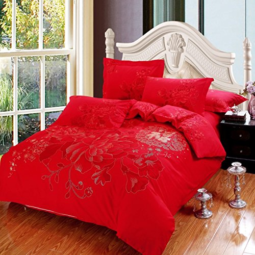 Lt Queen King Size 100% Cotton Thickening Sanded Soft 4-Pieces Red Flowers Wedding Girl Floral Prints Duvet Cover Set/Bed Linens/Bed Sheet Sets/Bedclothes/Bedding Sets/Bed Sets/Bed Covers/5-Pieces Comforter Sets (5, Queen) front-885004