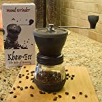 Khaw-Fee HG1B Manual Coffee Grinder with Conical Ceramic Burr - Because Hand Ground Coffee Beans Taste Best, Infinitely Adjustable Grind, Glass Jar, Stainless Steel Built To Last, Quiet, Portable from Khaw-Fee
