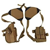 Sizet Tactical Horizontal Double Draw Shoulder Gun Holster Pouch Concealed Carry Adjustable Ambidextrous with Padded Shoulder for Maximum Comfort (Mud) (Color: Mud)