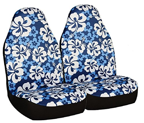 Allison 67-0346BLU Blue Hawaiian Print Universal Bucket Seat Cover - Pack of 2 (Seat Cover Allison compare prices)