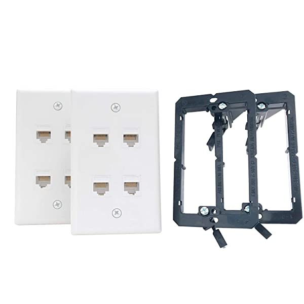 KCC Industries 4-Port Cat6 Ethernet Cable Wall Plate | Female-Female with Mounting Bracket +UL/CSA Listed Safe+ (2-Pack) (Tamaño: 4 Port)