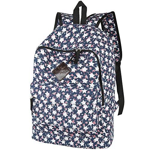 Woogwin Casual Canvas Laptop Bag/Shoulder Bag/School Backpack (Star)