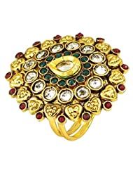 Gold Plated Alloy Matel Rings Simulated Emearld Ruby Stone Jewelry