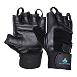WeightLifting Gloves- Extra Padded Soft Leather With Easy Pull-Off Finger Loop-Wrist Strap For Extra Support-Double Stitched Glove & Palm- Breathable Mesh & Easy Tab Size Adjuster (Small)
