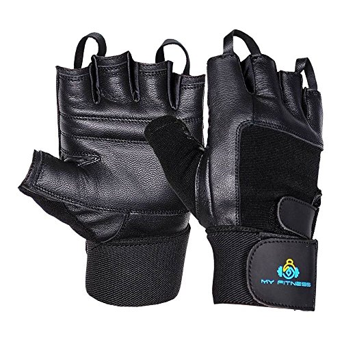 WeightLifting Gloves- Extra Padded Soft Leather With Easy Pull-Off Finger Loop-Wrist Strap For Extra Support-Double Stitched Glove & Palm- Breathable Mesh & Easy Tab Size Adjuster (Medium)