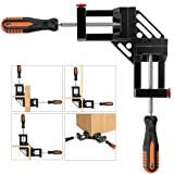 Right Angle Clamp, Housolution Single Handle 90° Aluminum Alloy Corner Clamp, Right Angle Clip Clamp Tool Woodworking Photo Frame Vise Holder with Adjustable Swing Jaw (Double Handle, 12-Black) (Color: 12-black, Tamaño: Double Handle)