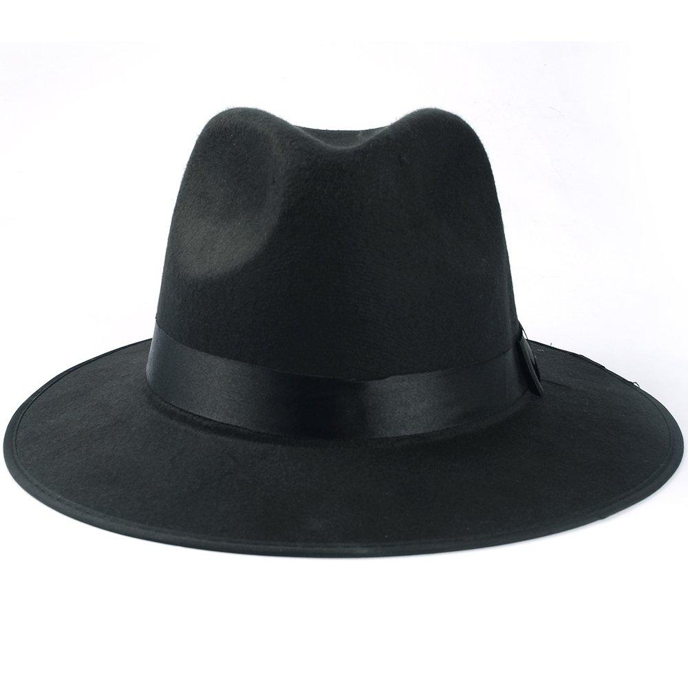 Medium Vintage Style Men's Hard Felt Wide Brim Fedora Trilby Panama Hat 1