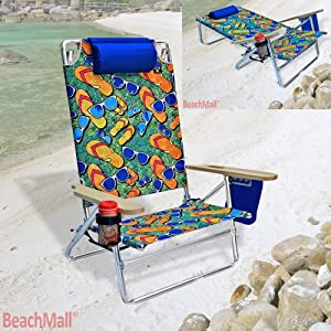 5 position Heavy Duty 300 lbs Lay Flat Beach Camping Chair Big & Tall by BeachMall
