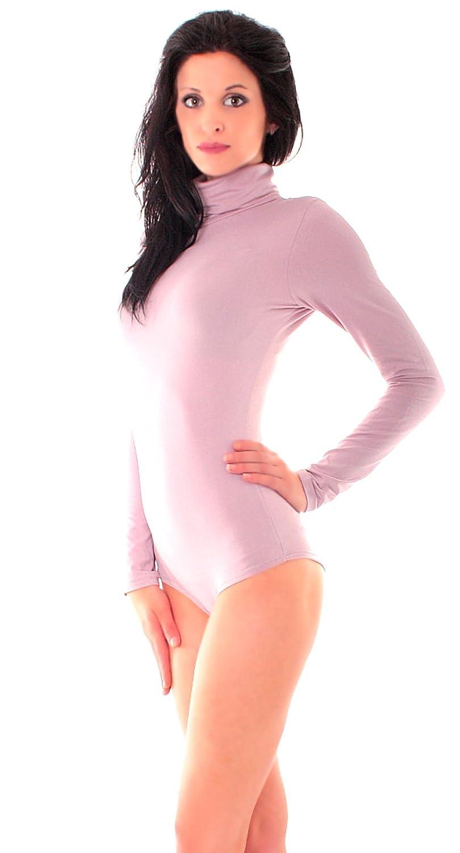 Damen Soft Touch Body mit Rolli Microfaser Funktions Langarm Body Stehkragen
