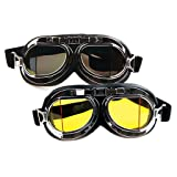 WWII Vintage Goggles, Aviator Pilot Style Motorcycle Cruiser Scooter Goggle, Bike Racer Touring Half Helmet Goggles, Cool MTB Bicycle Summer Winter Snowboard Windproof glasses (Color: Silver, Tamaño: One Size)