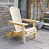 Trueshopping Outdoor Garden Furniture / Patio / Lawn Newby Wooden Adirondack Arm Chair / Lounger Sunlounger with pull out Leg Rest Durable & Easy To Store Away