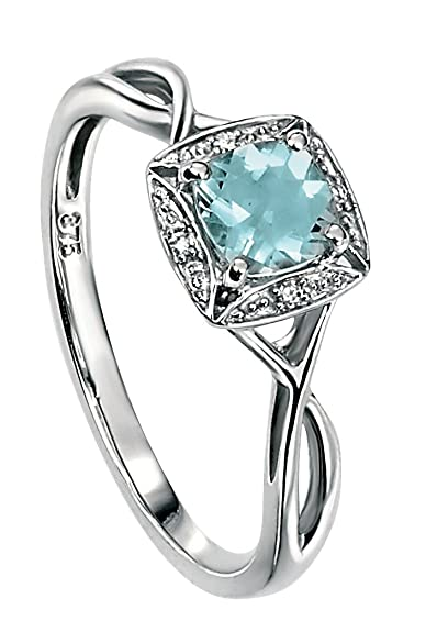 Elements Gold for Ladies 9ct White Gold Diamond and Aquamarine Twist Ring